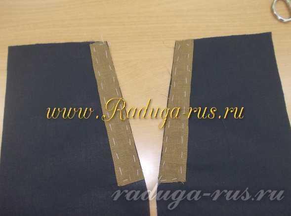 мешковина кармана передних половинок брюк с обтачками