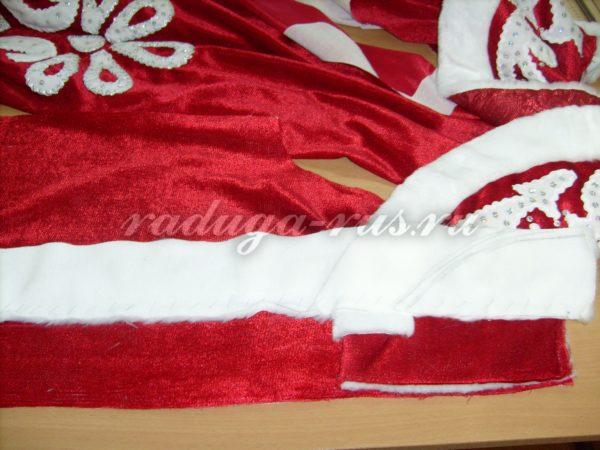 обработка края борта костюма Деда Мороза