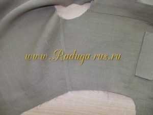 обработка плечевых срезов запошивочным швом (вид с лицевой стороны)