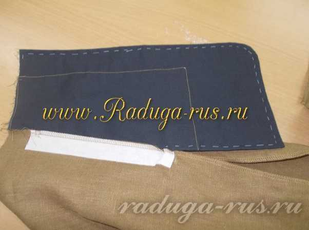 обработка мешковины кармана двойным швом (сметывание по краю)