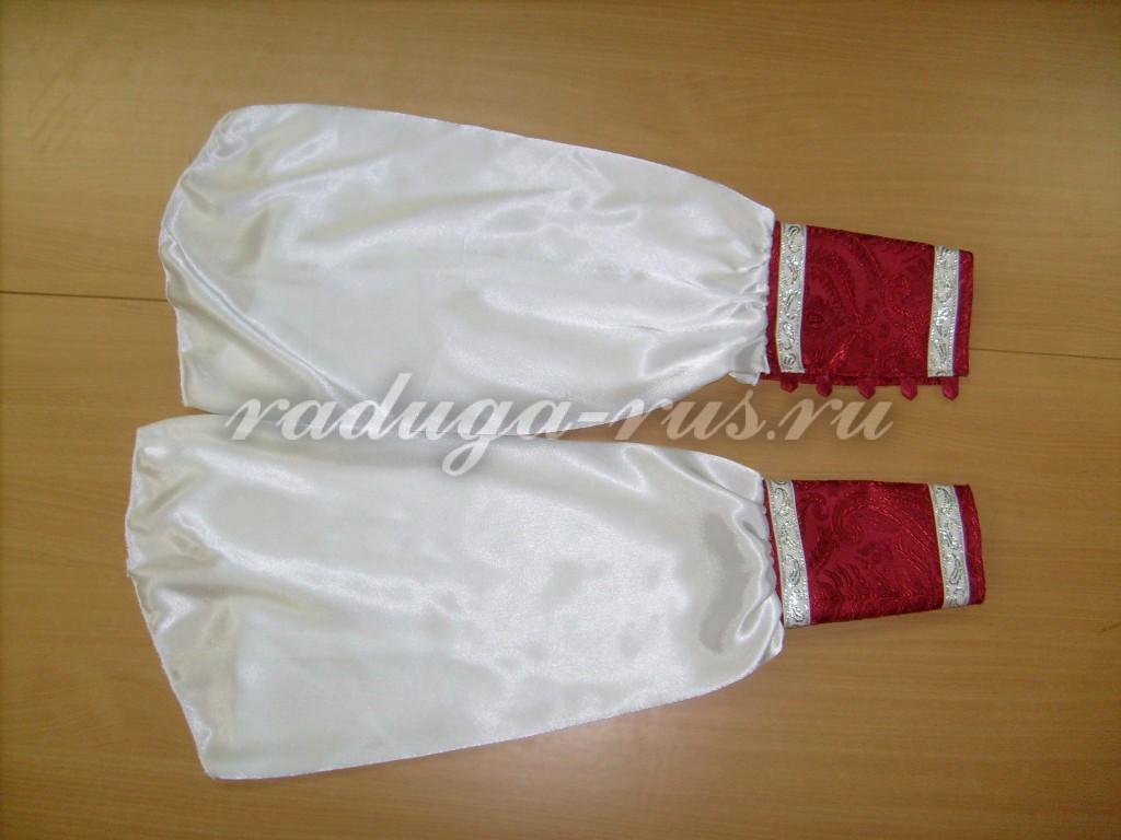обработка ложных рукавов рубахи костюма Деда Мороза