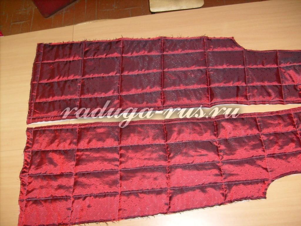 выстегать детали подкладки спинки и полочки